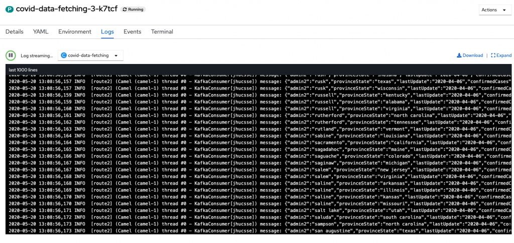 A screenshot of messages streaming into Kafka.