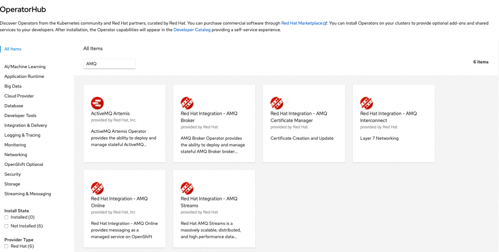 A screenshot of the AMQ Streams page in the OperatorHub.