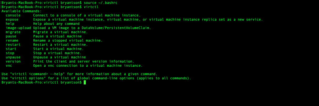 A screenshot of the CLI executing virtctl.