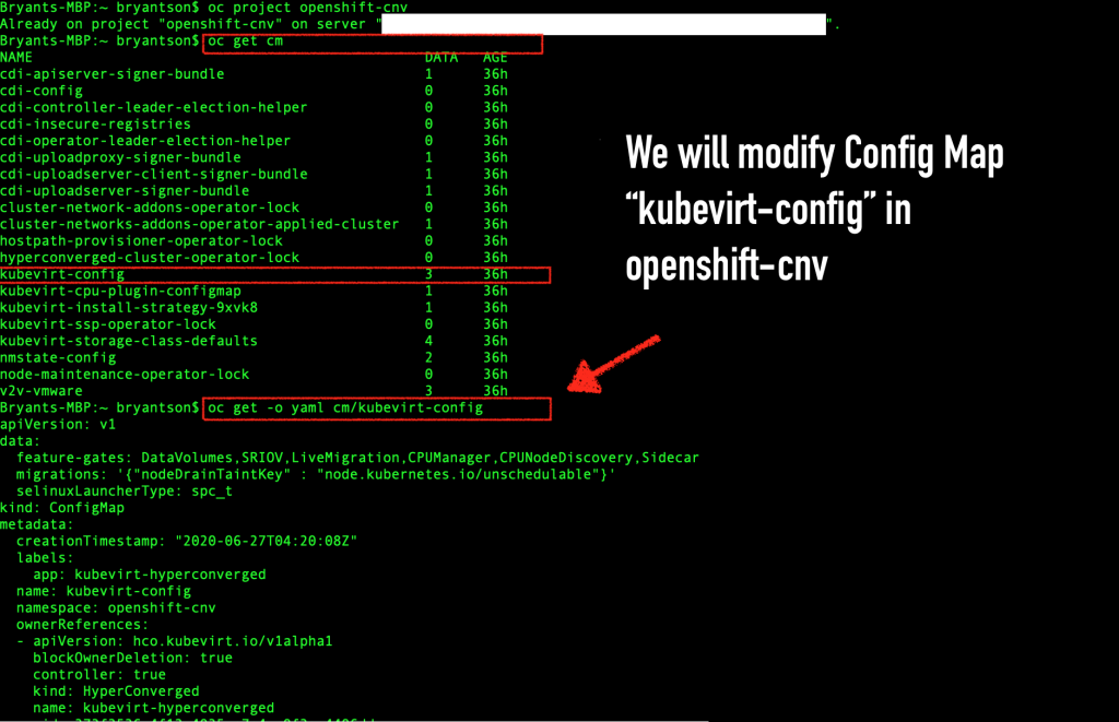 "A screenshot of the OpenShift CLI with the ""kubevirt-config"" file listed."