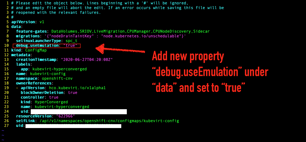 "A screenshot of the CLI with the new property ""debug.useEmulation"" added."
