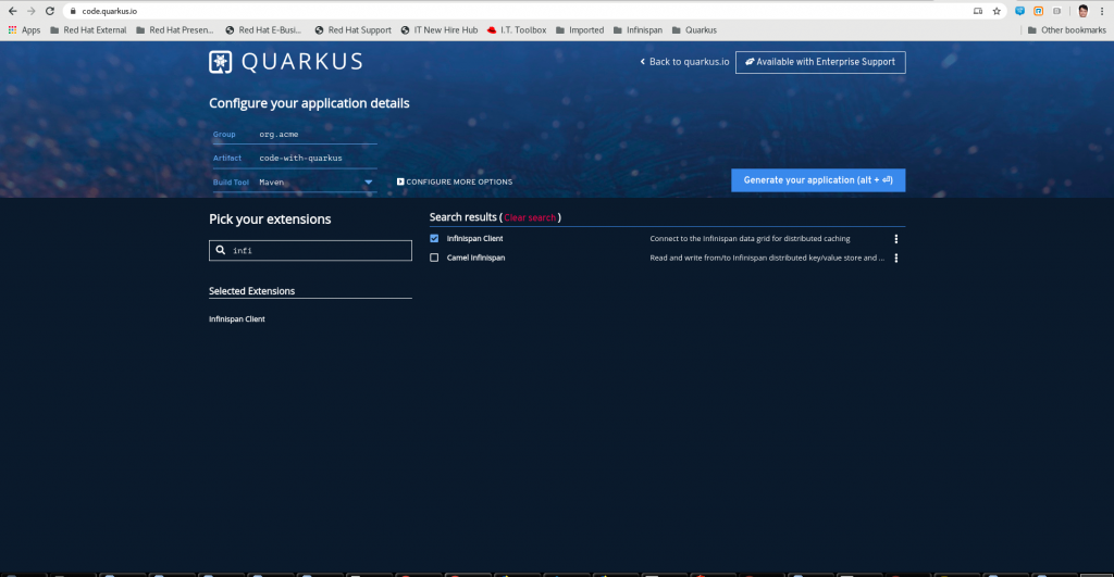 A screenshot of the download page on Quarkus.io.