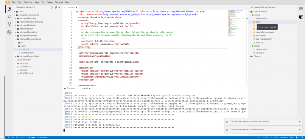 A screenshot of the build file for the MicroProfile OpenTracing quickstart project.