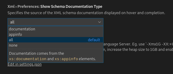 A screenshot of the VS Code Settings menu, displaying the different options available for displaying XSD documentation.
