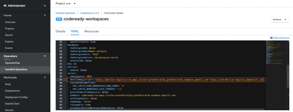 A screenshot of the devfile registry in the CodeReady Workspaces cluster.