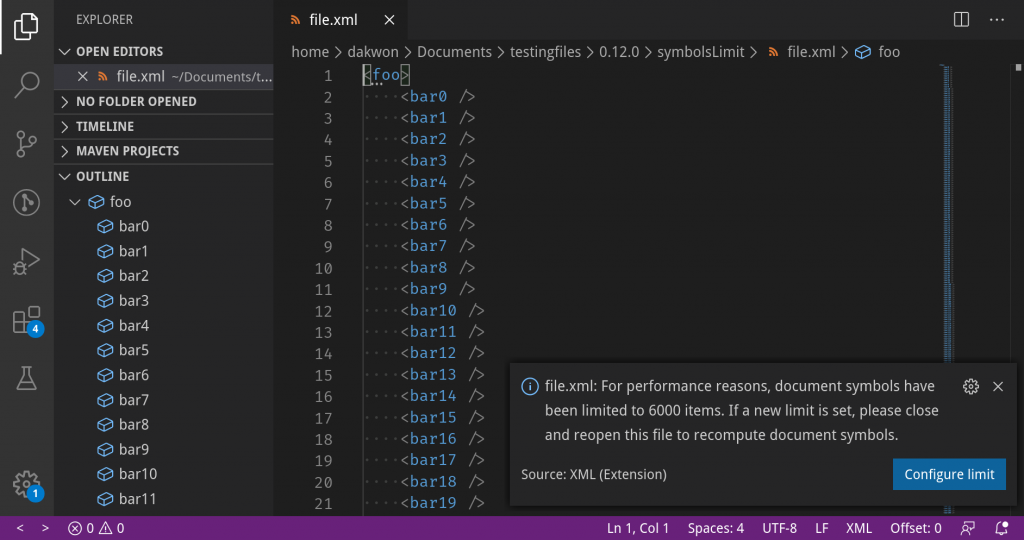 VS Code displays an error message when the document symbol limit is exceeded.