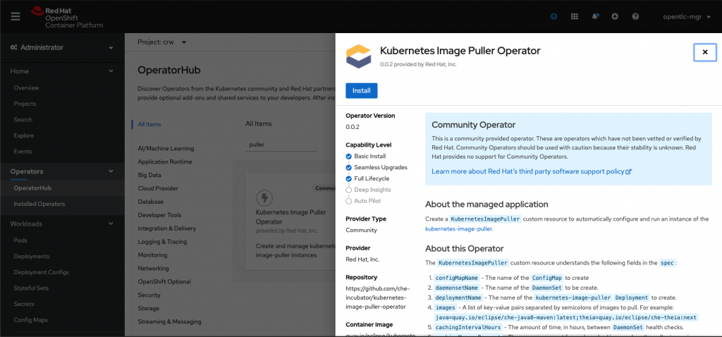 A screenshot of the installation page for the Image Puller Operator.