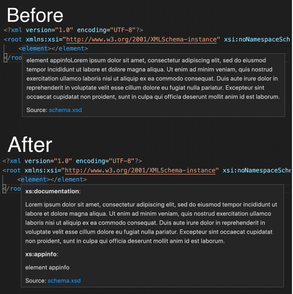 A screenshot showing the before and after results of hovering over an element with documentation. The hover now uses subtitles to seperate app info and documentation.
