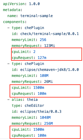 A screenshot of the config file with the new option to set CPU limits for IDE plugins.