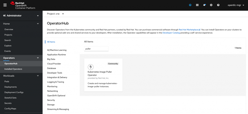 A screenshot showing the new Operator in the Operator Hub.