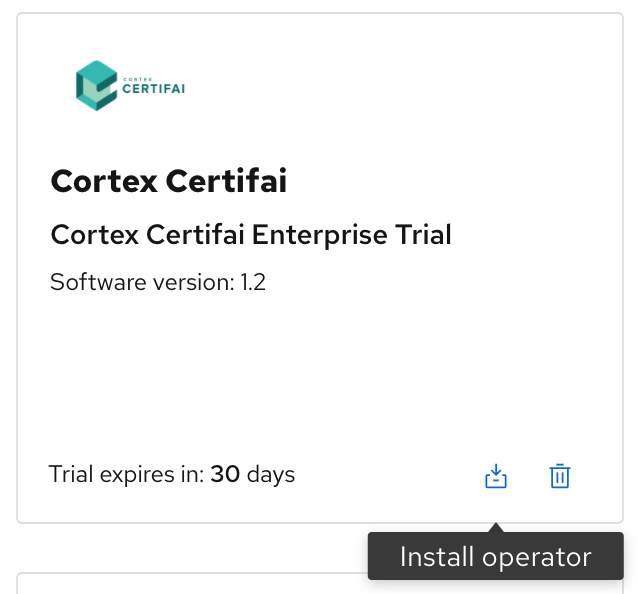 A screenshot of Cortex Certifai tile with the 'Install Operator' button.