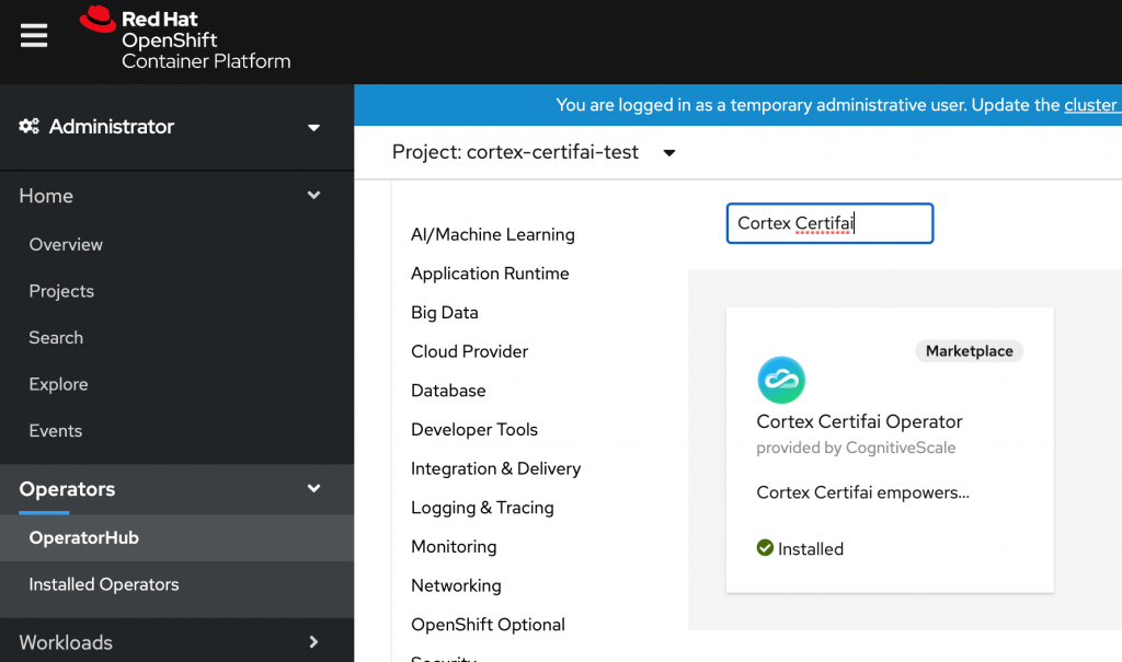 A screenshot showing the option to install an instance of Cortex Certifai.