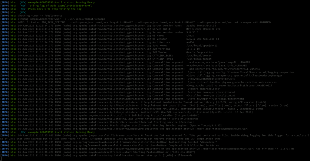 A screenshot of the mvn k8s:log command and output.