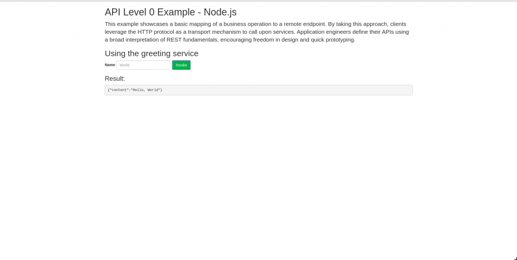 A screenshot of the Express.js application displayed in browser.