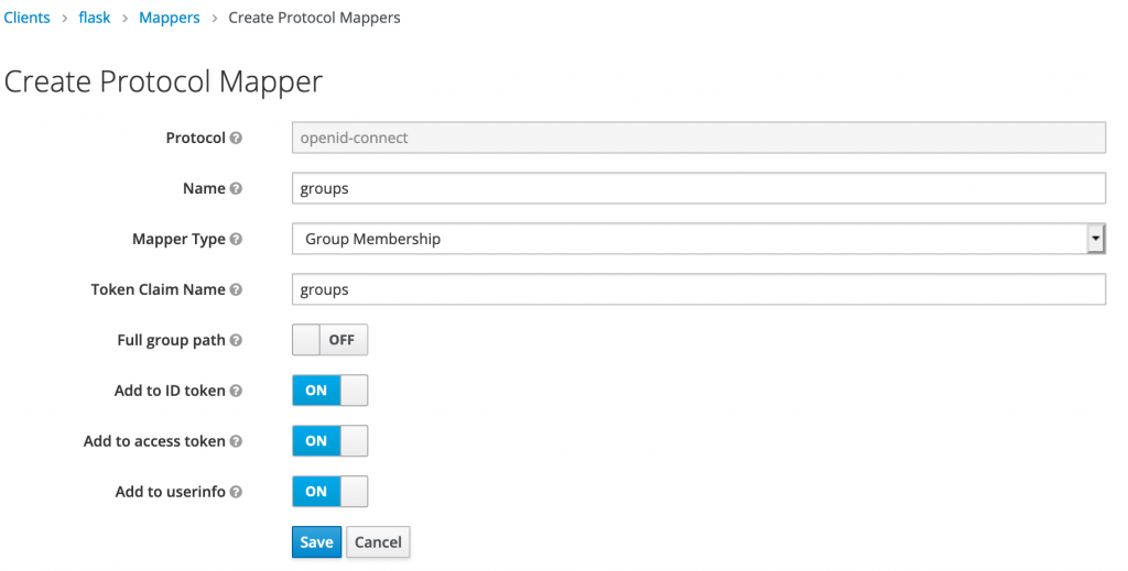 A screenshot of the dialog to create the Groups mapper.