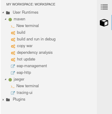 A screenshot of the build commands available in the quickstart project workspace.