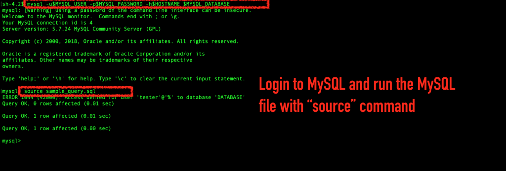 Execute the MySQL source command to run MySQL queries from the sample file.