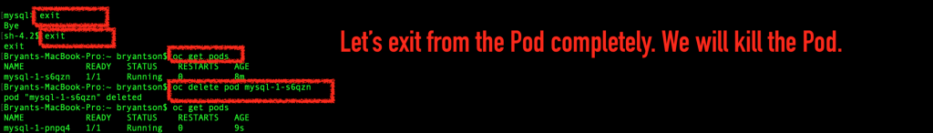 Use the 'oc delete pod POD_NAME' command to delete the pod.