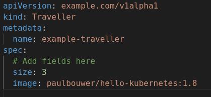 A screenshot of the example.com_v1alpha1_traveller_cr.yaml file.