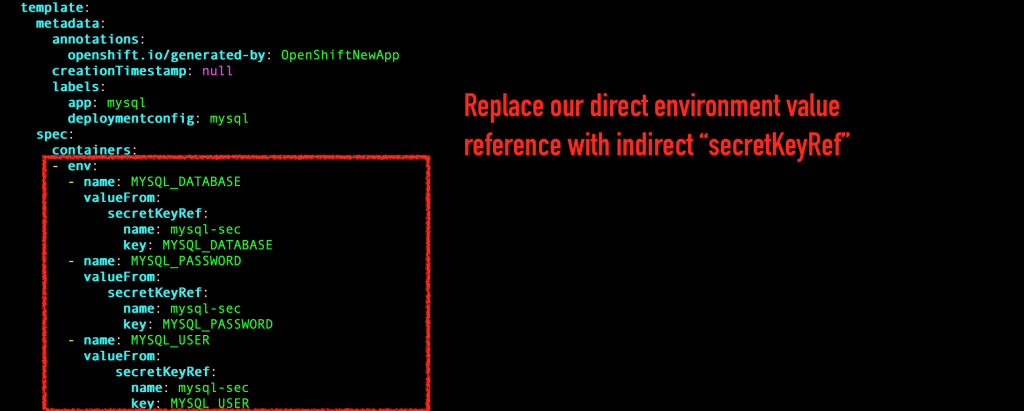 Replace the reference to MySQL environment variables with the new OpenShift secret.