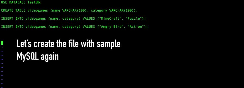 Create and populate a second sample MySQL file.
