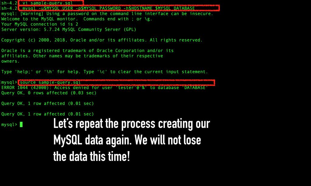 Recreate the MySQL data with persistent data storage.