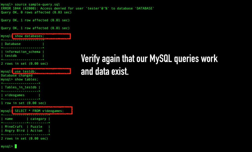 Verify that the MySQL queries work and the data exists.