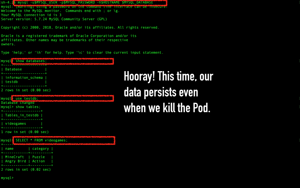 Verify once more that the MySQL data persists, even after the pod was deleted.