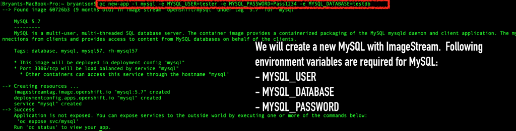 A new MySQL application deployment with ImageStream using the three required environment variables.