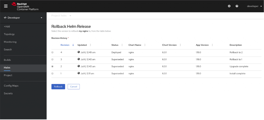 A screenshot of the Rollback Helm Release page and the Revision History list in the OpenShift 4.5 console.