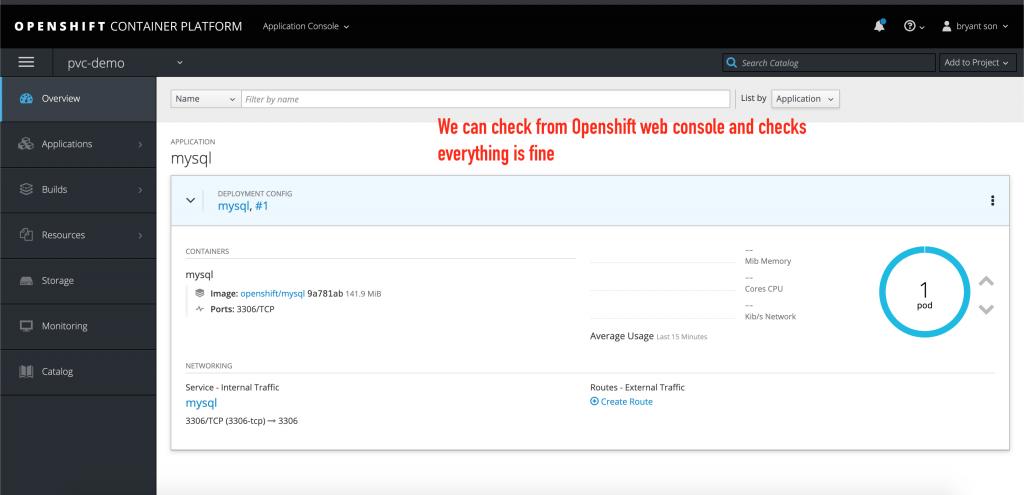 Check the MySQL pod's health status in the OpenShift web console.