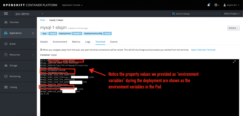 Accessing the OpenShift terminal and interacting directly from inside the MySQL pod.