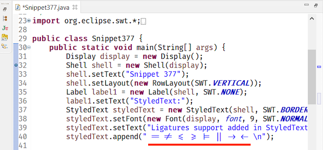 A screenshot of ligatures rendered in the Java editor on Windows 10.