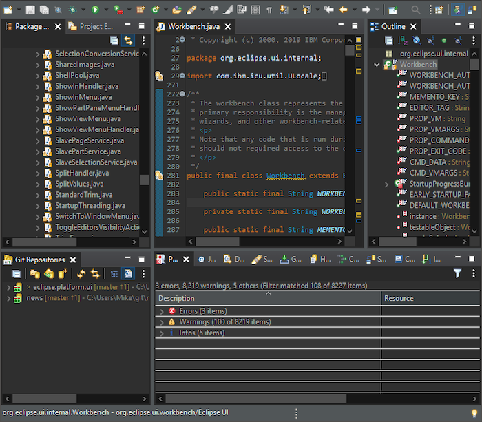 A screenshot of an open project with the new dark scrollbar.