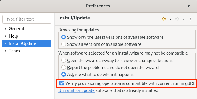 A screenshot of the Install/Update preferences page with the option to verify compatible provisioning.