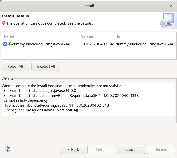 A screenshot of the error message with incompatible dependencies listed.