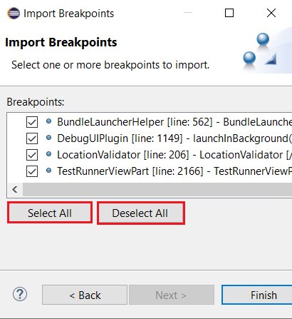A screenshot of the Import Breakpoints dialog with the new Select All and Deselect All options.