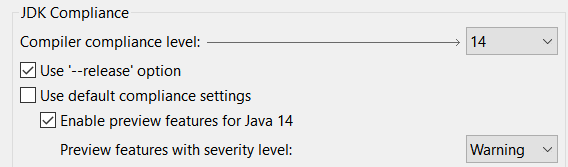 A screenshot of the options to set the set the JDK compiler compliance to 14 and enable the preview features.