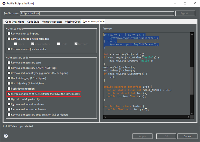 A screenshot of the merge option for unnecessary code.