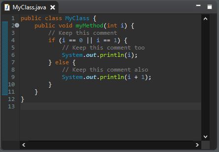 A screenshot of the MyClass.java class after cleanup.