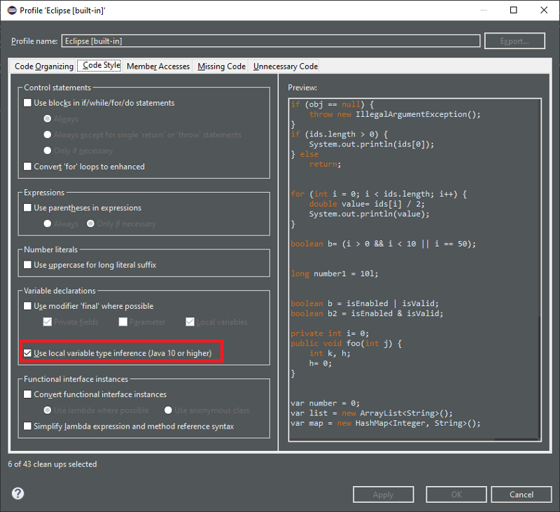 A screenshot of the option to use local variable type inference in Java 10 or higher