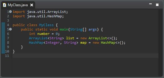 A screenshot of the MyClass.java class before cleanup.