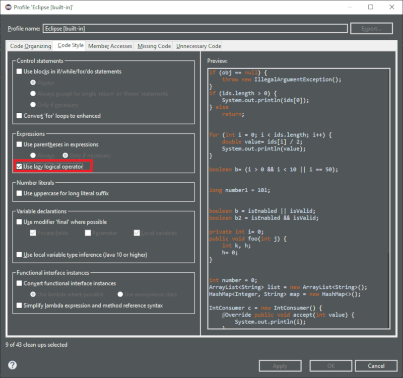 A screenshot of the option to use the lazy logical operator.