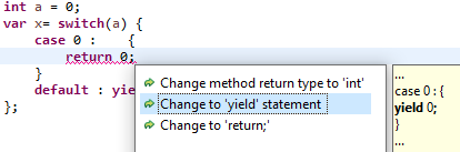 """A screenshot of the option: """"Change to 'yield' statement""""."""