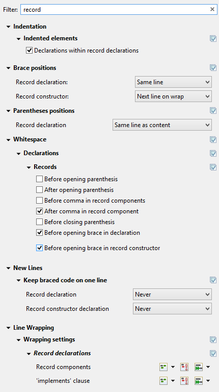 A screenshot of the new settings for record declarations.