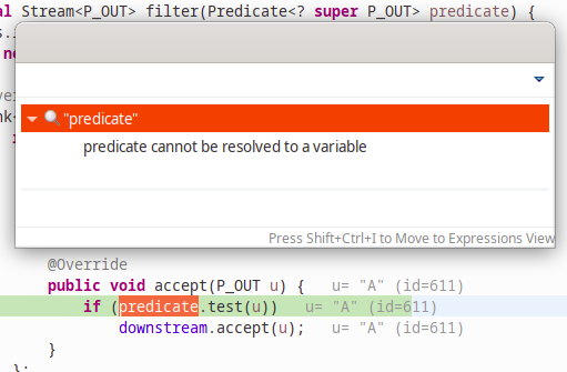 A screenshot of the debugger inspecting synthetic variables.