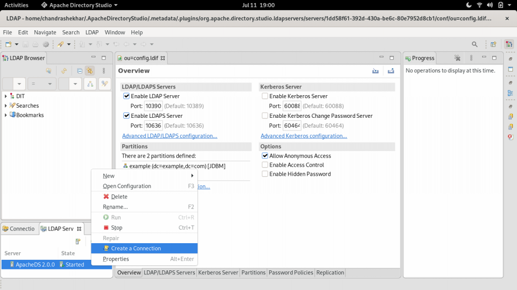Dialog to create a new LDAP connection.