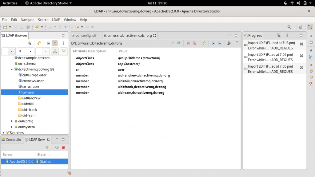 A screenshot of the LDIF file in the LDAP browser.