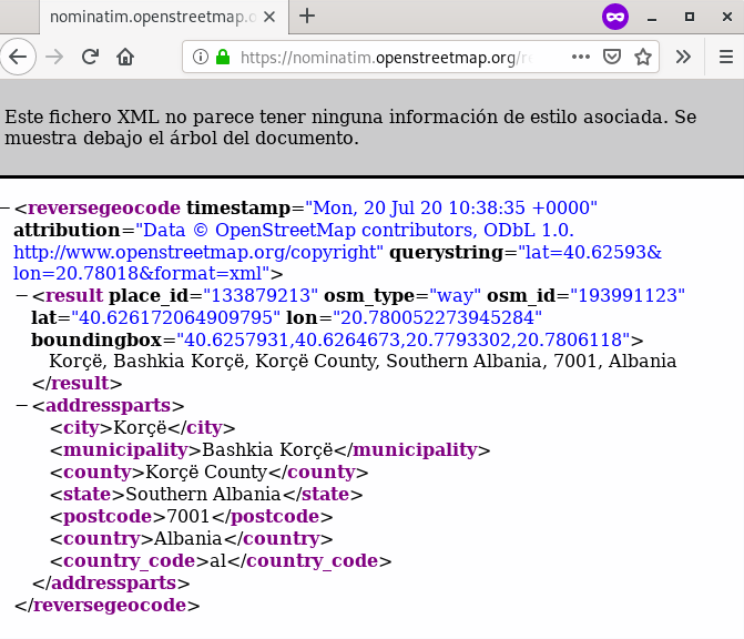 A screenshot of the Nominatim example response in XML format.
