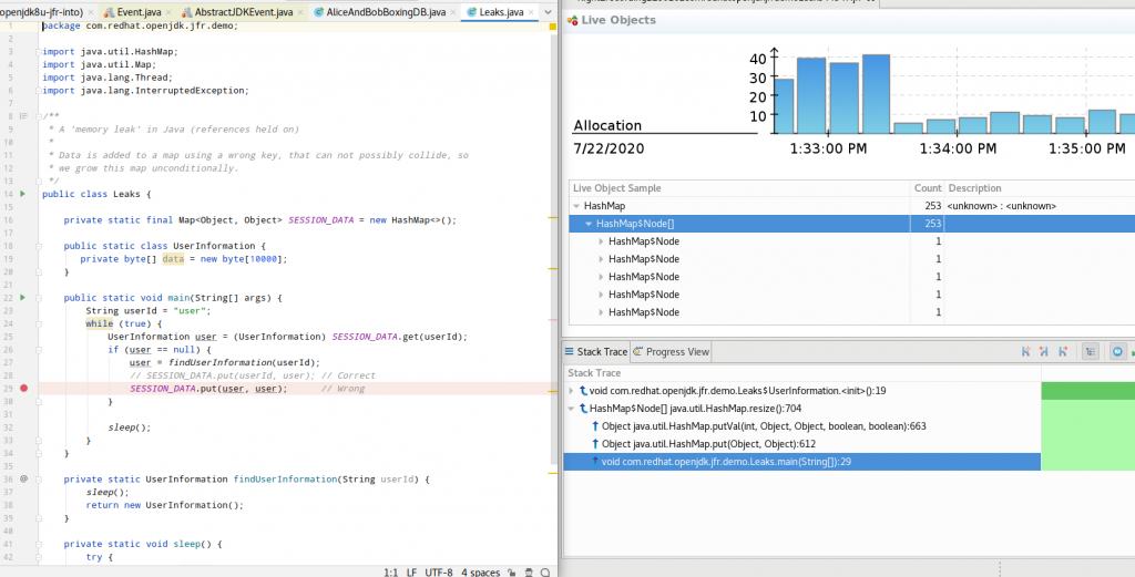 A screenshot of the Live Object page shown side-by-side with the application code.